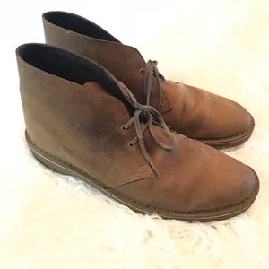 Clarks brown leather chukka ankle boots